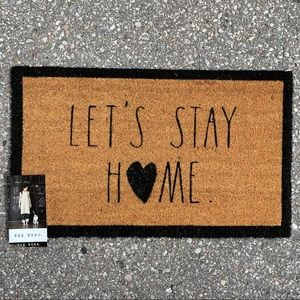 Rae Dunn LET'S STAY HOME outdoor mat